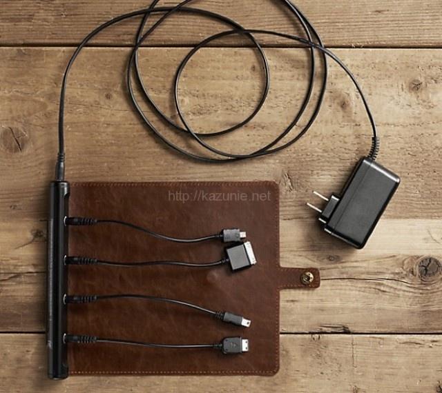 とってもおしゃれでセンスの良い革巻き持ち運び充電器Roll up Travel Charge