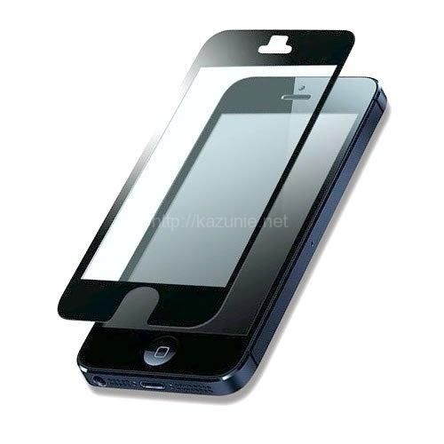 貼り直しが簡単 気泡知らず iPhone5/5S対応 硬質保護フィルム ブラック 反射防止タイプ