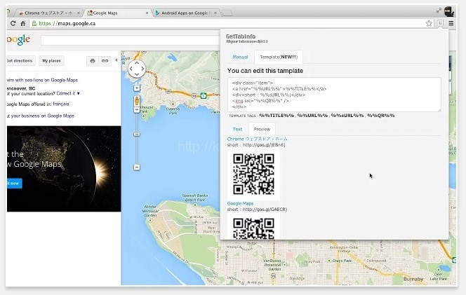 Chromeで開いているページヘのリンク、サムネイル、QRコードまで一瞬でHTMLタグ取得できるChrome拡張機能「GetTabInfo」が便利